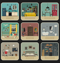 Set of interior rooms vector