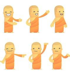 set of monk character in different poses vector image vector image