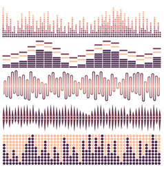 set of sound waves vector image vector image