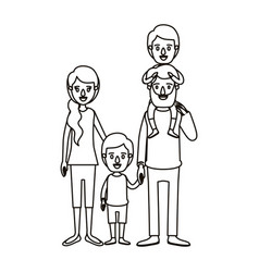 Silhouette caricature family parents with boy on vector