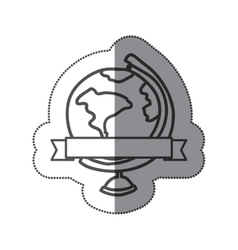 sticker silhouette monochrome with map of the vector image vector image