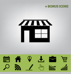 Store sign black icon at vector
