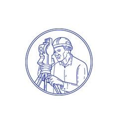 Surveyor theodolite circle mono line vector
