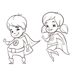Two happy super hero kid vector