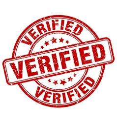 Verified red grunge round vintage rubber stamp vector