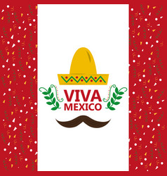 Viva mexico hat and mustache confetti decoration vector