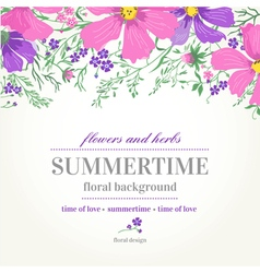 Wedding invitation with pink and purple flowers vector
