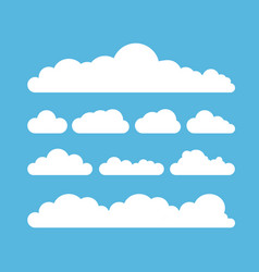 white summer clouds set isolated on blue vector image vector image