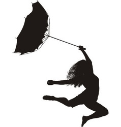 Woman jumps in the wind vector image vector image