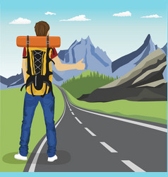 Young man doing hitchhiking on road in mountains vector