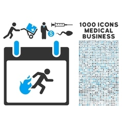 Fire evacuation man calendar day icon with 1000 vector