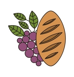 Bread and wine icon vector