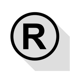 Registered trademark sign black icon with flat vector