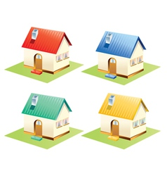 Colorful houses set isolated vector