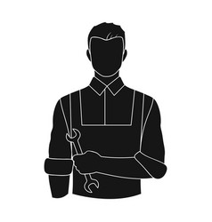 fitter mechanicprofessions single icon in black vector image