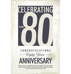 80 years anniversary retro background vector