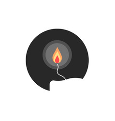simple candle flame in circle vector image