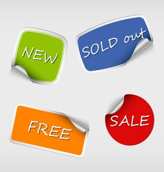 Set of colored stickers with bent corner vector image