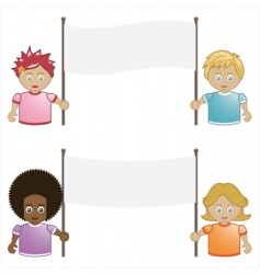 Kids holding banners vector