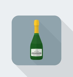 Flat style champagne bottle icon with shadow vector