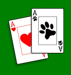 Ace of paws playing cards vector
