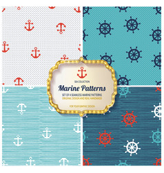 4 different marine seamless patterns vector