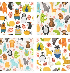 Seamless patterns with cute animals vector