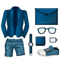 Blue color set flashcard vector image
