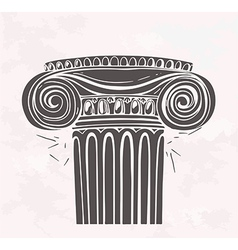 Stylized antique column in sketch style on a vector