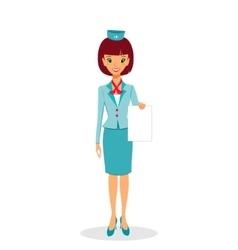 Cartoon flight attendant in uniform holding blank vector