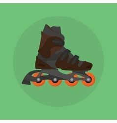 Roller skates skater single isolated with green vector