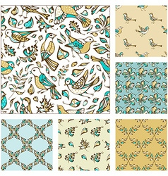 Set of seamless birds and leaves patterns vector
