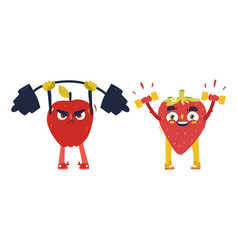 Apple strawberry characters working out in gym vector