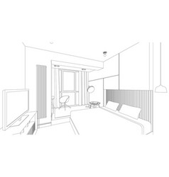 Bedroom line interior vector