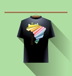 Black shirt with colored brazil logo vector