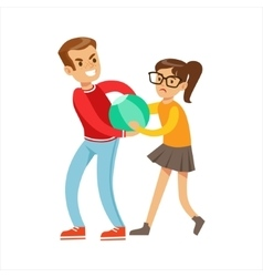 Boy and girl fist fight positions aggressive vector