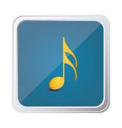 Button of semiquaver note in yellow with vector