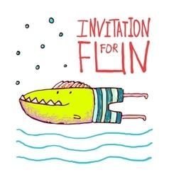 Cartoon fun monster fish invitation or greeting vector