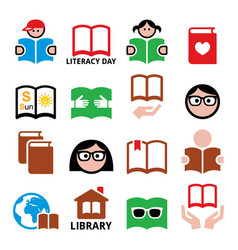 children and adults reading books international l vector image