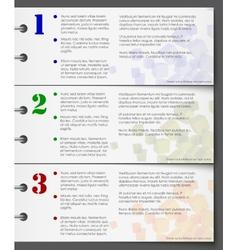 Colorful bookmarks for three steps vector