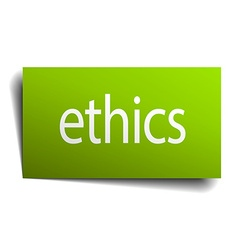 Ethics green paper sign isolated on white vector