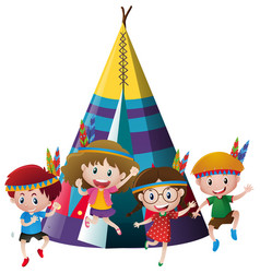 Four kids playing indian around teepee vector