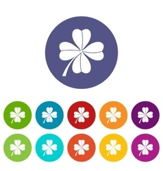 Four leaf clover set icons vector image vector image