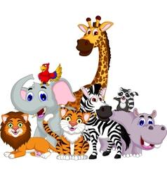 Funny animal cartoon collection vector
