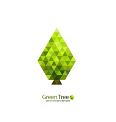 Green mosaic tree ecology design vector image vector image