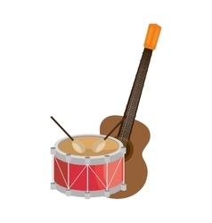 Guitar and drum instrument isolated icon vector