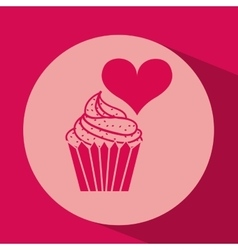 heart red cartoon silhouette cupcake icon design vector image