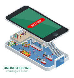isometric online shopping concept smart phone vector image