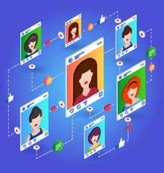 isometric social network communication on blue vector image vector image
