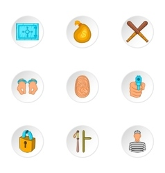 Lawlessness icons set cartoon style vector